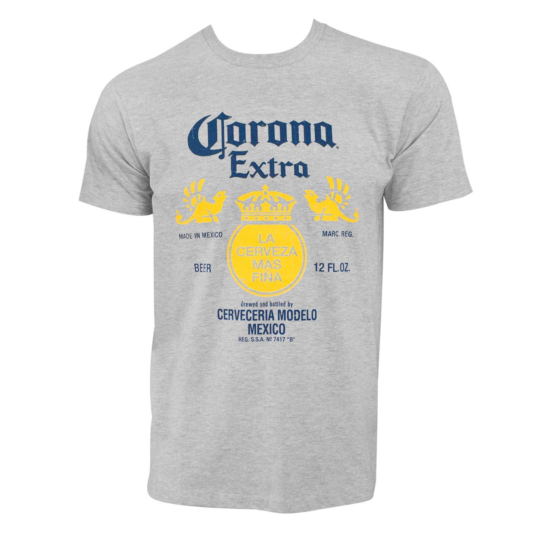 Corona Extra Bottle Label Grey Tshirt