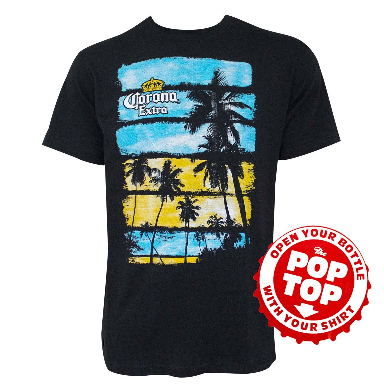 Corona Palm Trees Pop Top Bottle Opener Black Tee Shirt