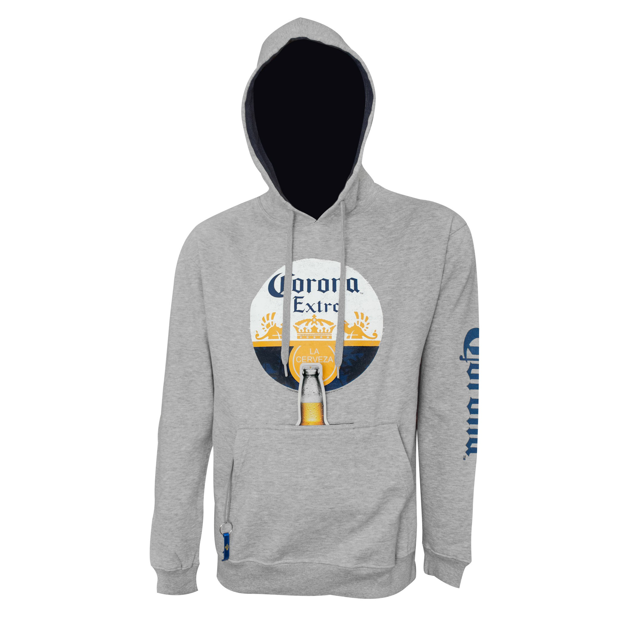 Corona Circle Logo Beer Pouch Hoodie With Bottle Opener