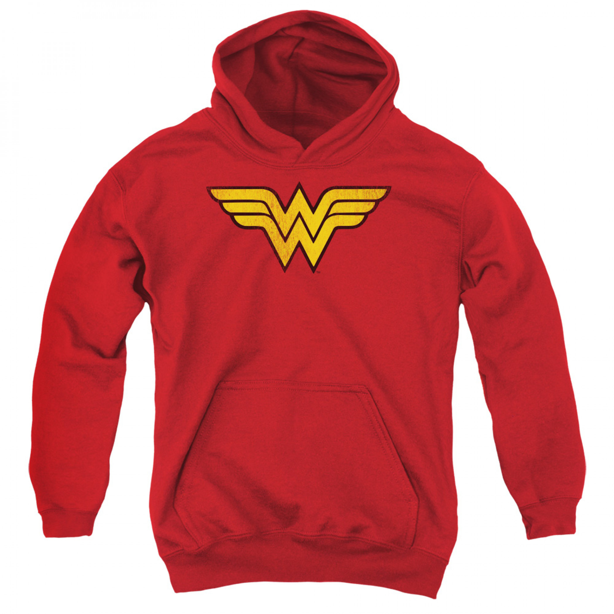 Wonder Woman Distressed Logo Youth Pull Over Hoodie