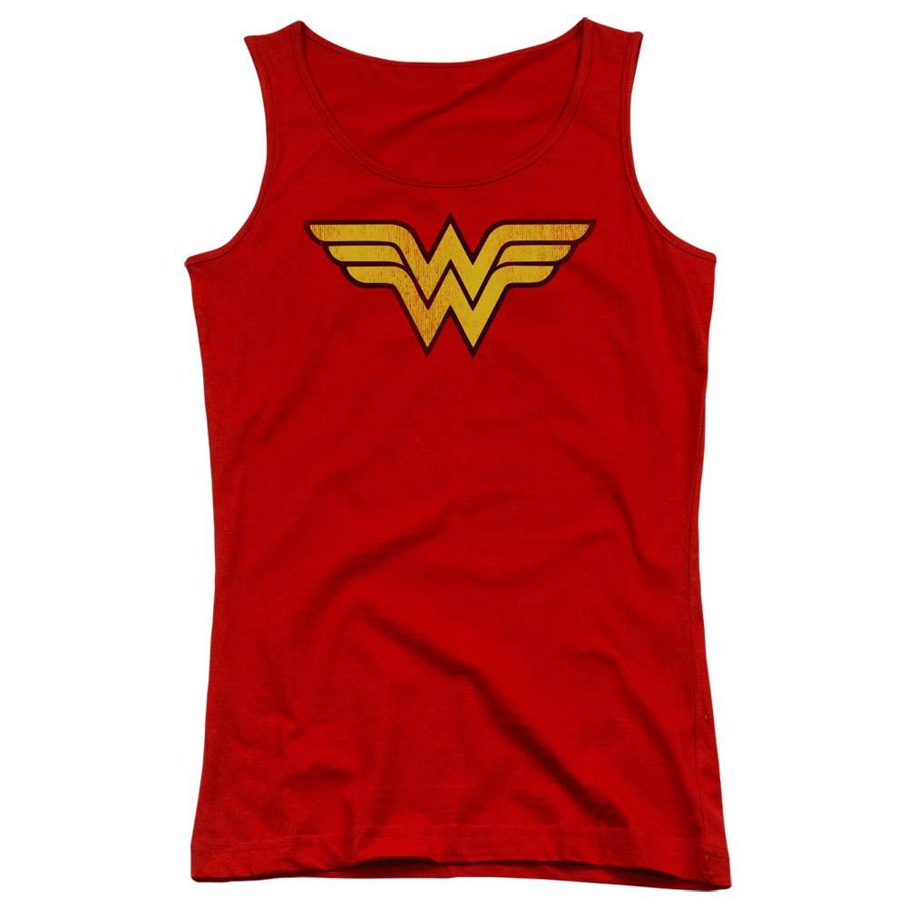 Wonder Woman Distressed Logo Red Juniors Tank Top