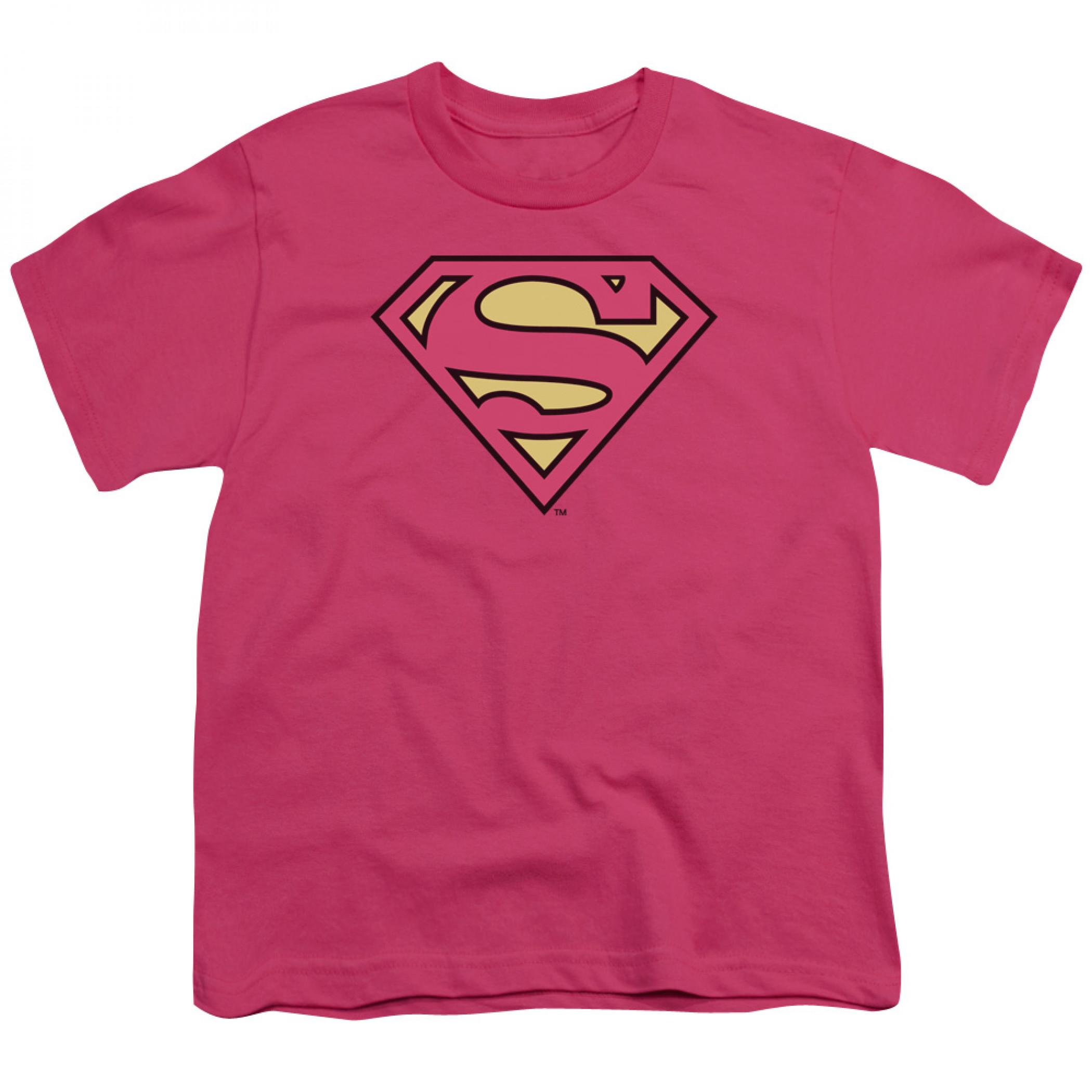 Supergirl Pink Symbol Youth T-Shirt
