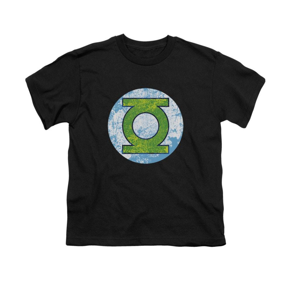 Green Lantern Neon Distressed Logo Black Youth Unisex T-Shirt