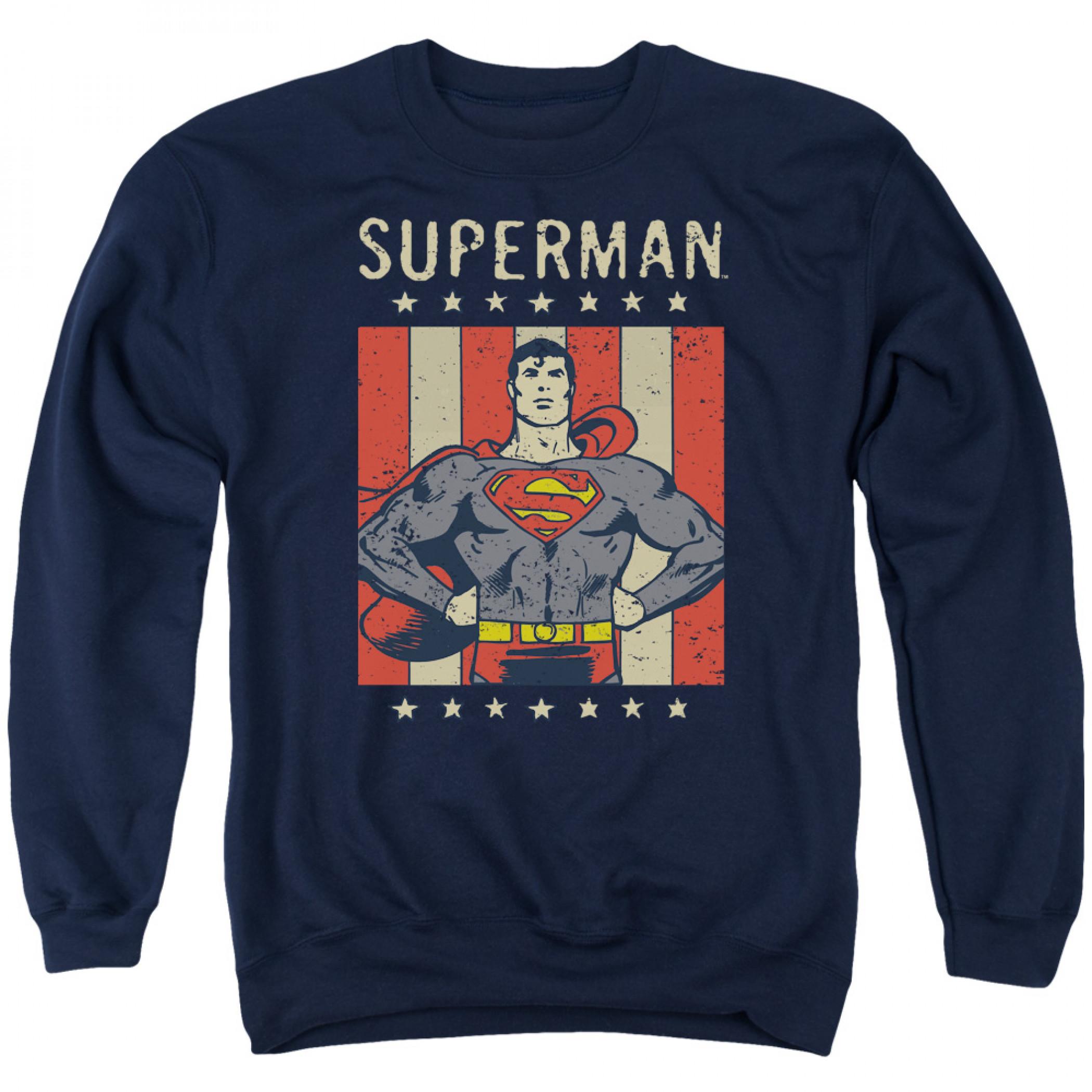 Superman American Flag Men's Blue Crewneck Sweatshirt