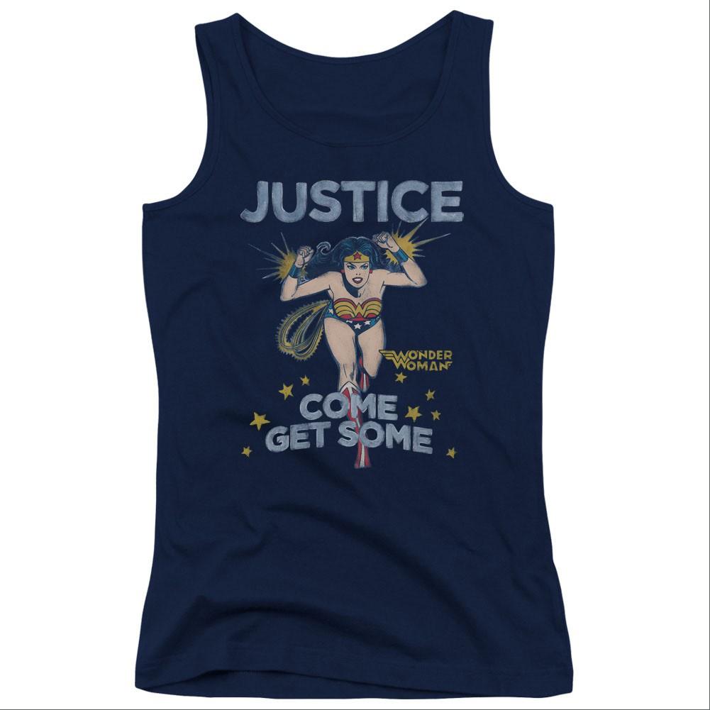 Wonder Woman Come Get Some Blue Juniors Tank Top