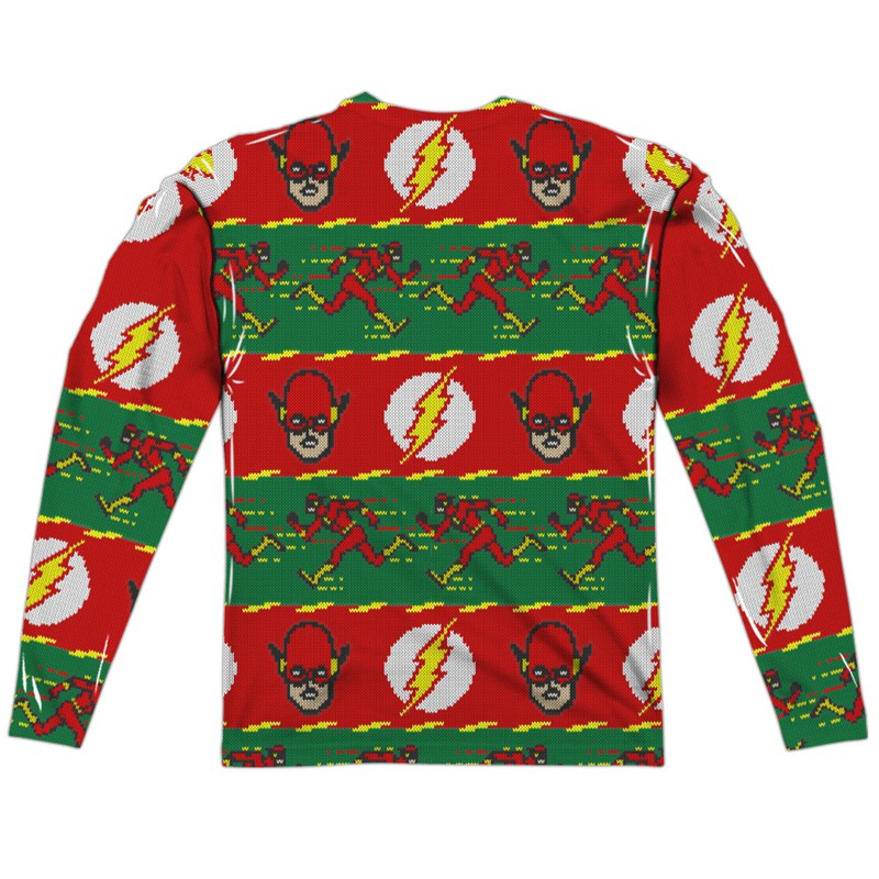 The Flash Ugly Christmas Sweater Print Long Sleeve T-Shirt