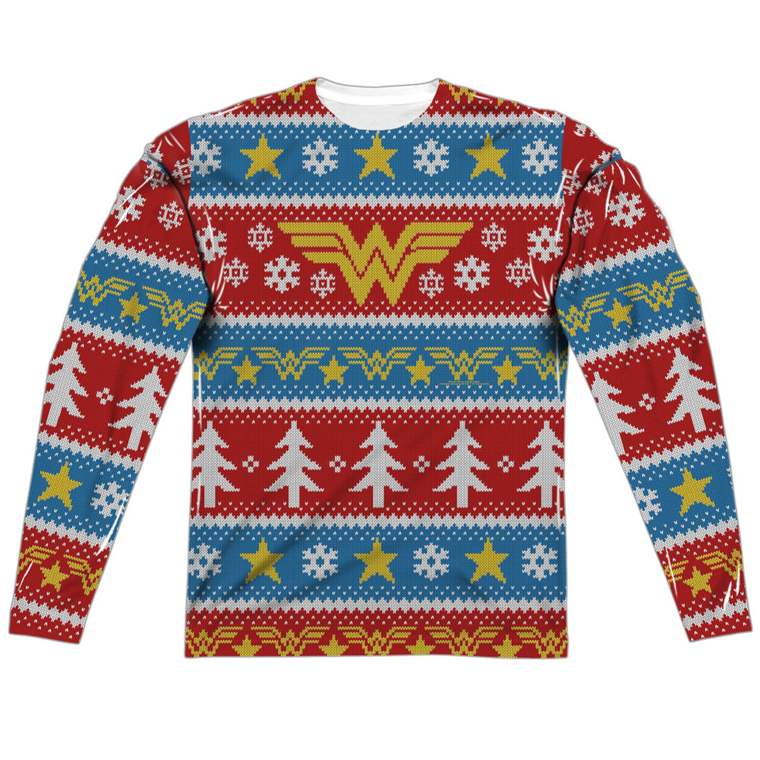 Wonder Woman Ugly Christmas Sweater Print Long Sleeve T-Shirt