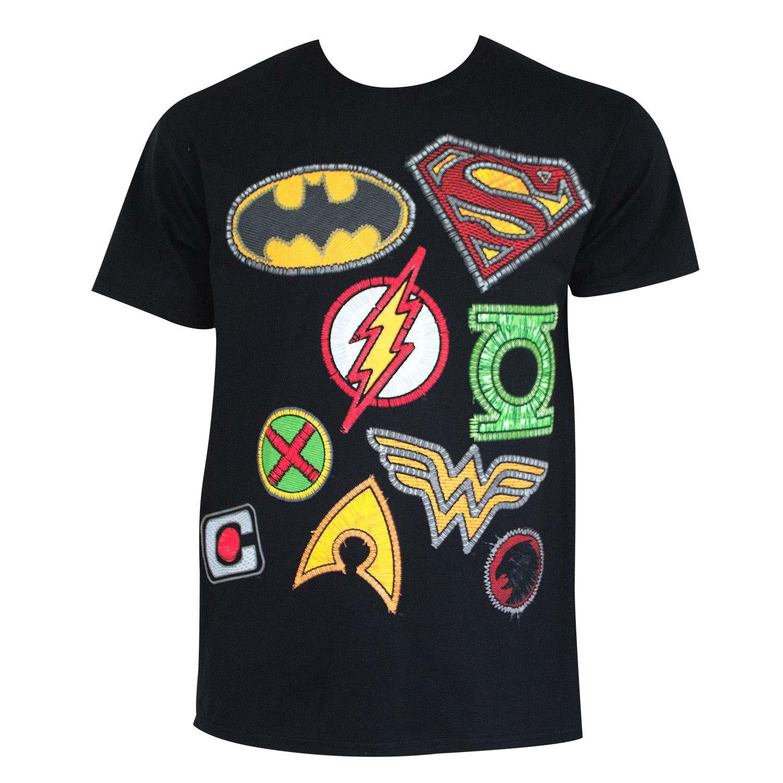 Justice League Patch Logos Tee Shirt