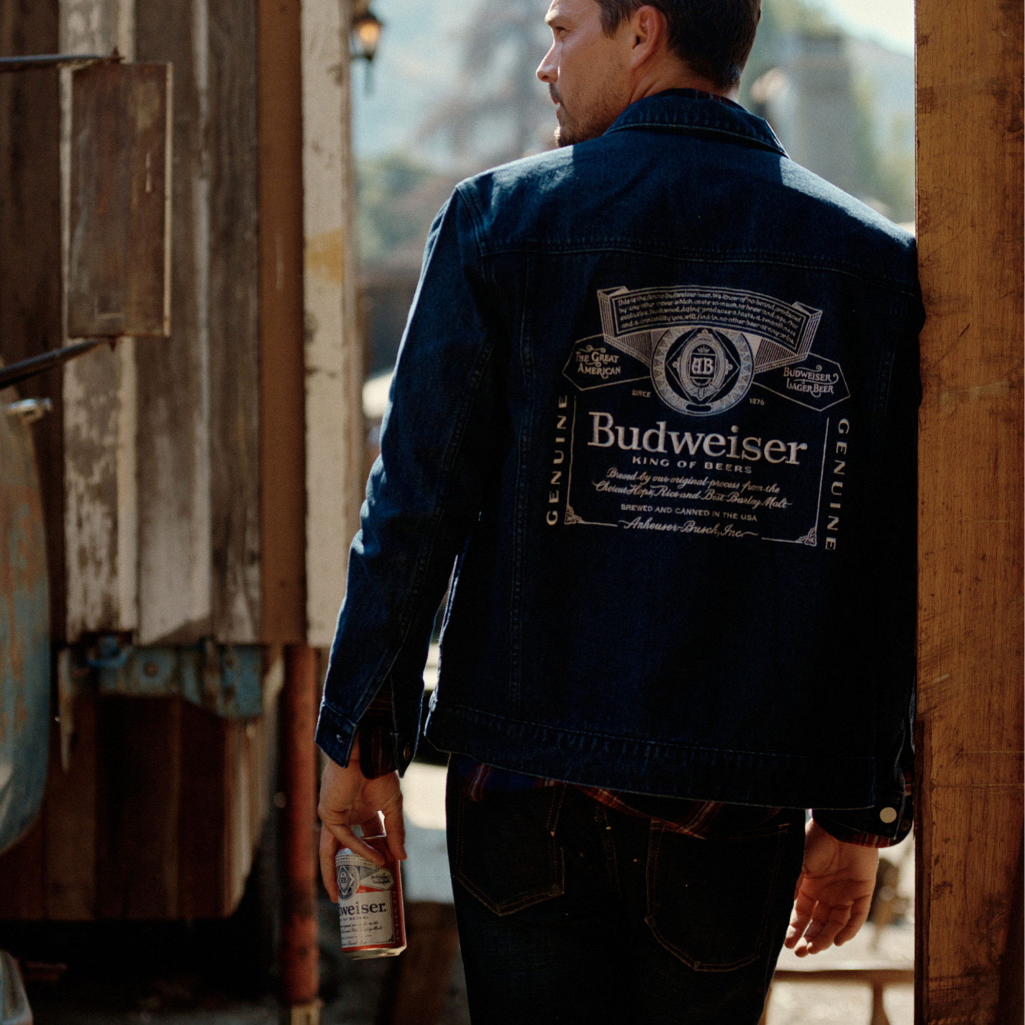 Budweiser King of Beers Dark Wash Trucker Jacket with Label Lining