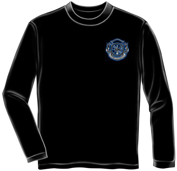 Firefighters Prayer Black Long Sleeve Graphic Tee Shirt