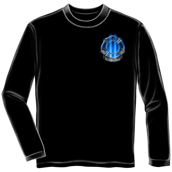 Heroes Of 9/11 USA Patriotic Black Long Sleeve Graphic T-Shirt
