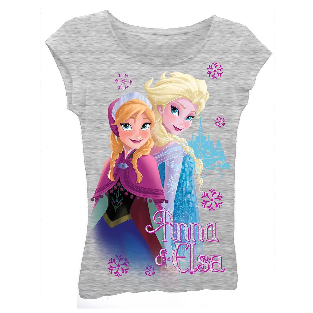 Disney Frozen Grey Anna And Elsa Girls 7-16 Tee Shirt