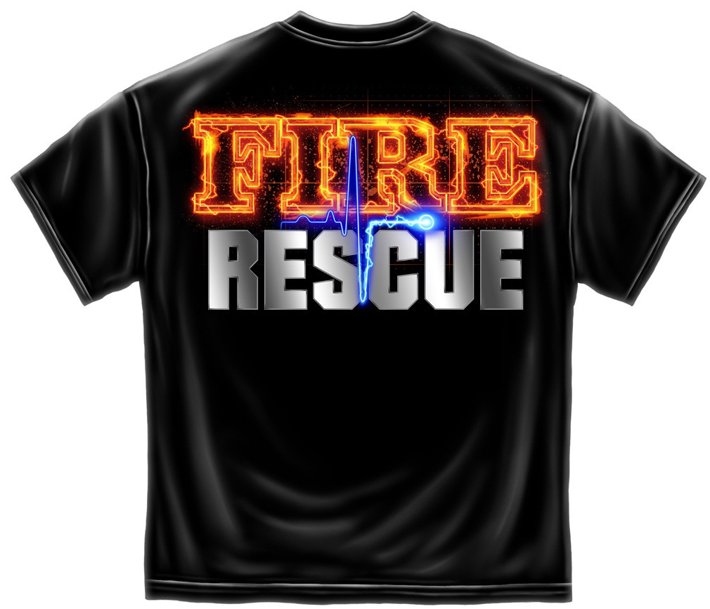 Firefighter Fire Rescue Patriotic T Shirt - Black
