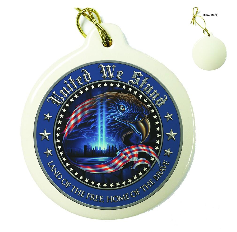 USA Patriotic United We Stand Porcelain Ornament