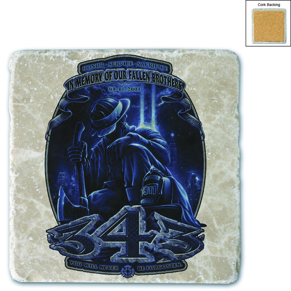 Firefighter You Will Never Be Forgotten #343 Stone Coaster