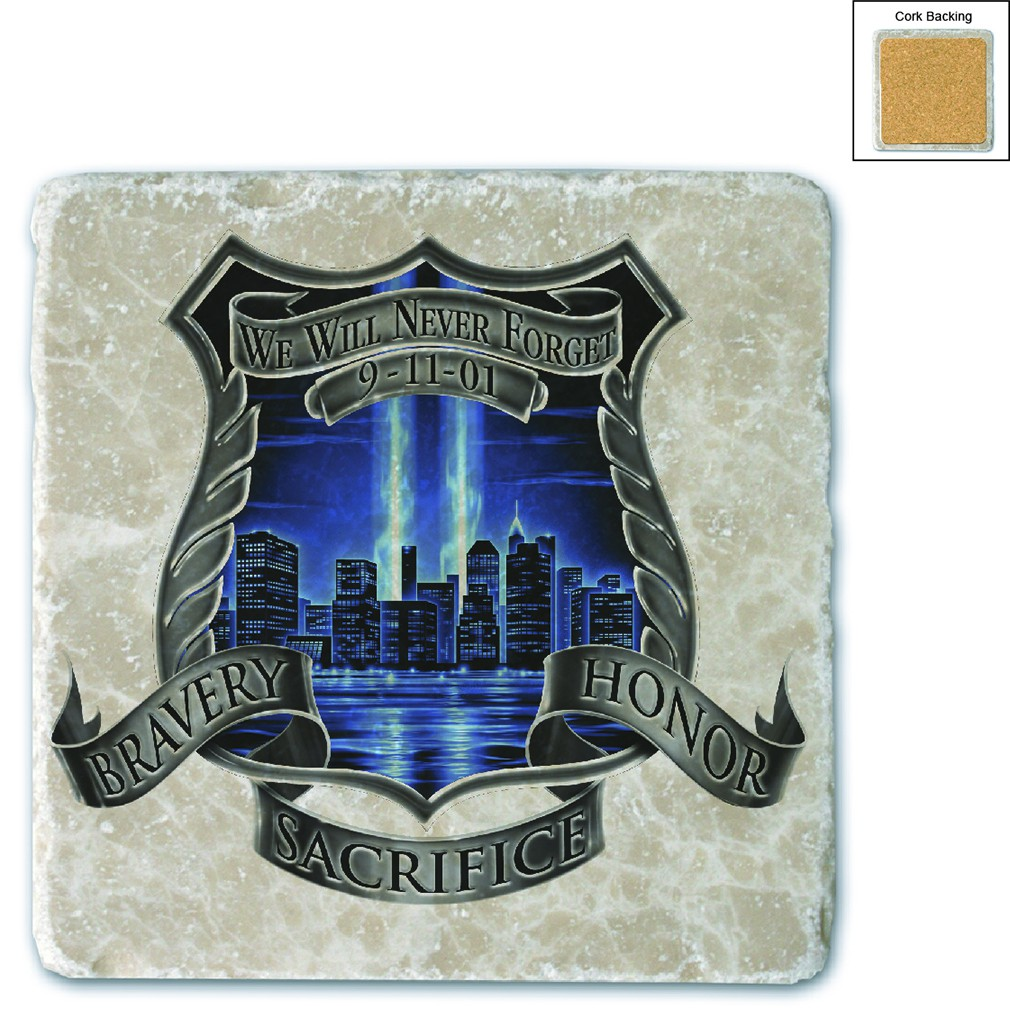 Police We Will Never Forget Stone Coaster