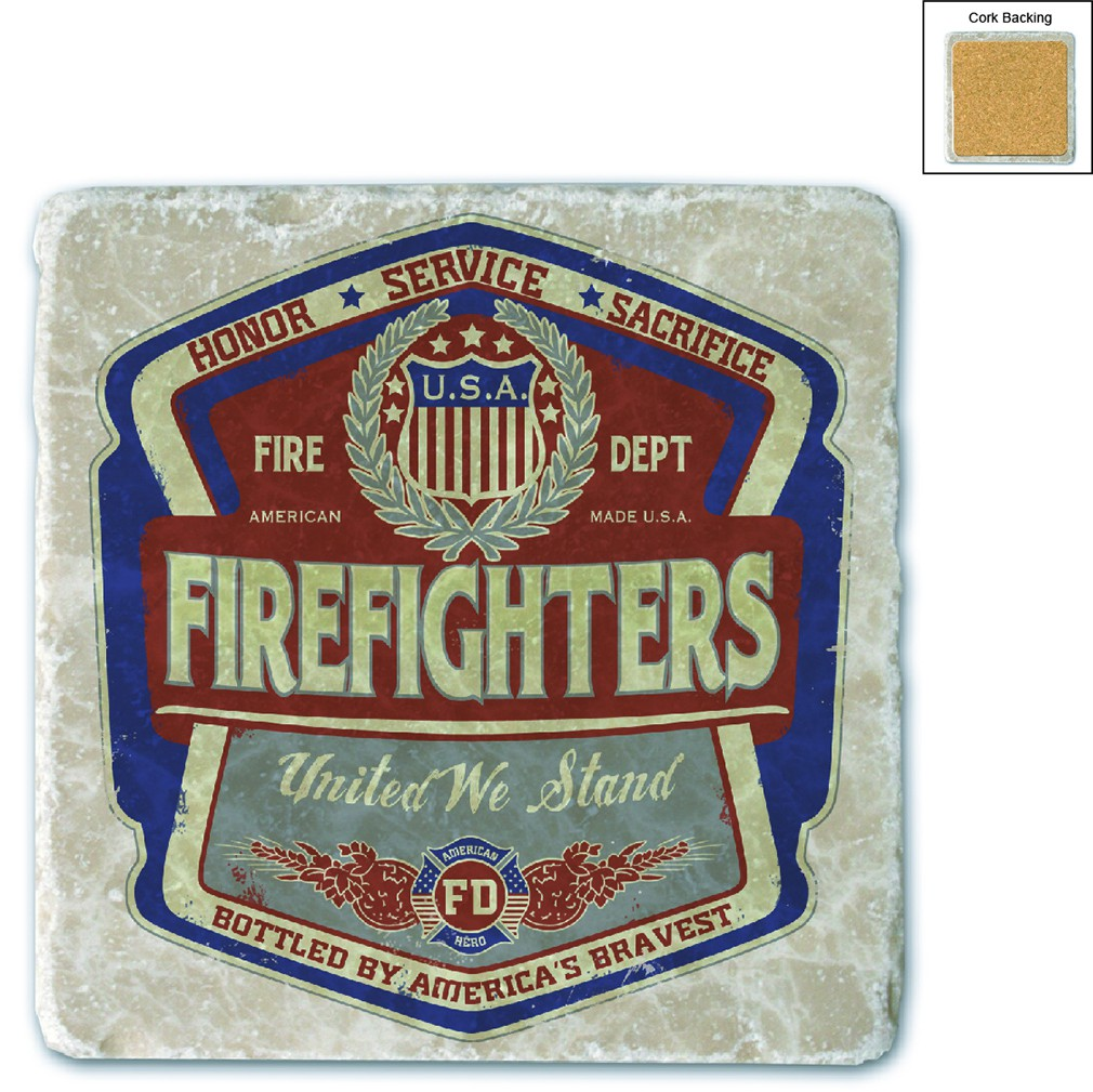 Firefighter Denim Fade Stone Coaster