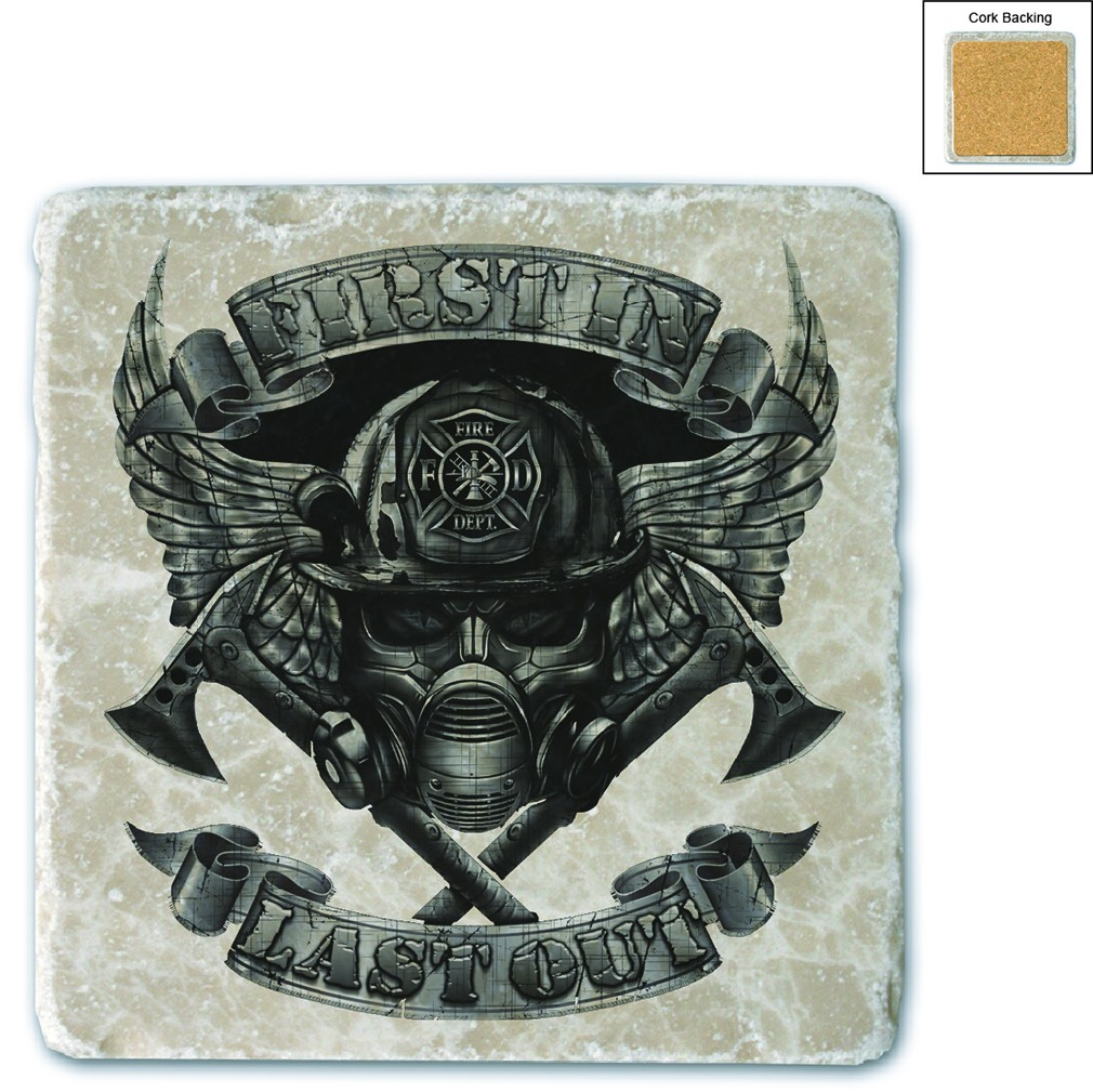 Firefighter Steel Wings Stone Coaster