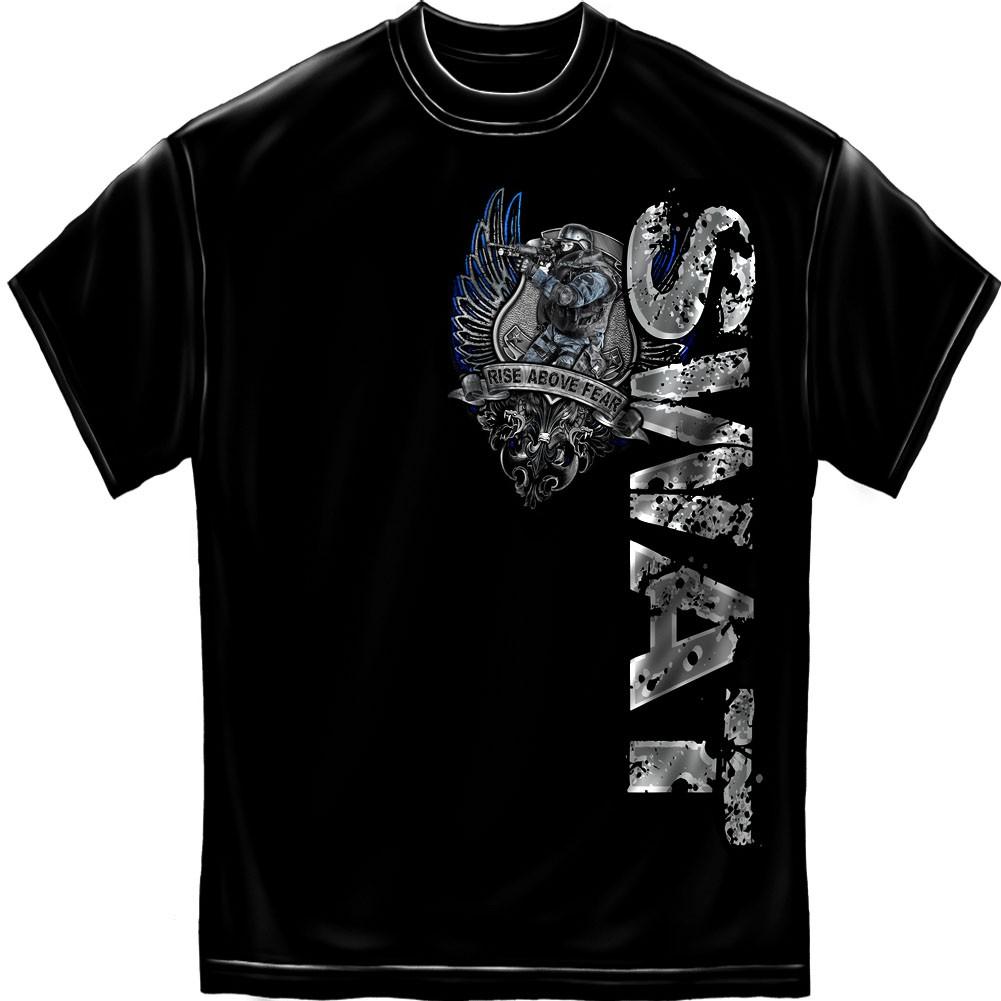 SWAT Rise Above Fear Black Foil T-Shirt