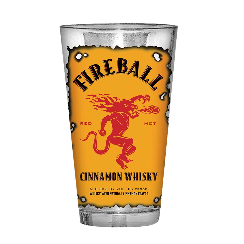 Fireball Whisky Burnt Label Pint Glass