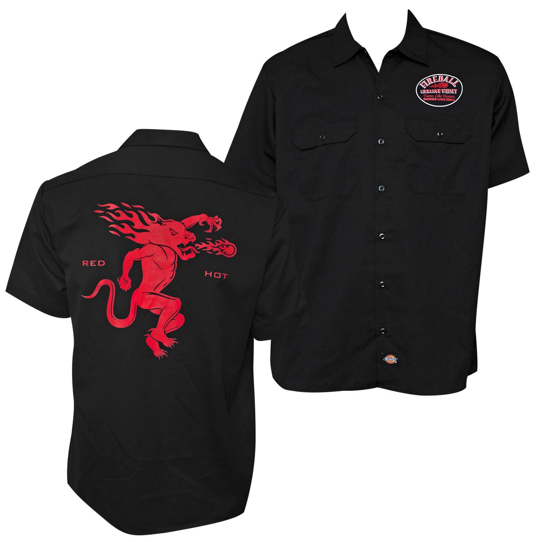 Fireball Whisky Red Hot Black Work Shirt