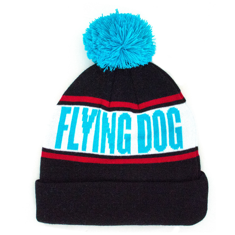 Flying Dog Black And Blue Pom Beanie