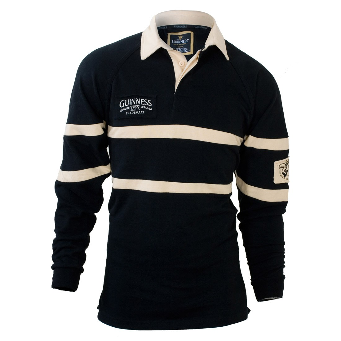 Guinness Black and Cream Rugby Shirt