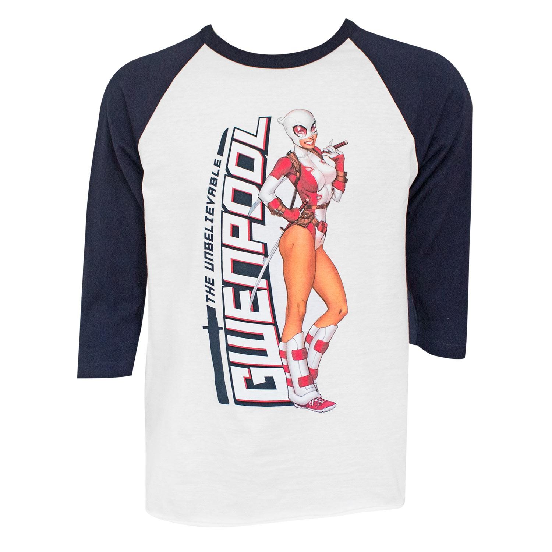 Gwenpool White & Black Raglan Sleeve Men's Tee Shirt