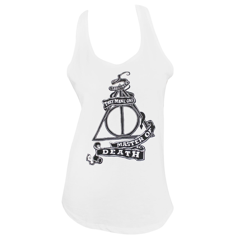 Harry Potter Deathly Hallows Racerback Women's White Tank Top
