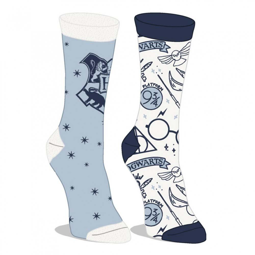 Harry Potter Blue And White 2 Pack Junior Crew Socks