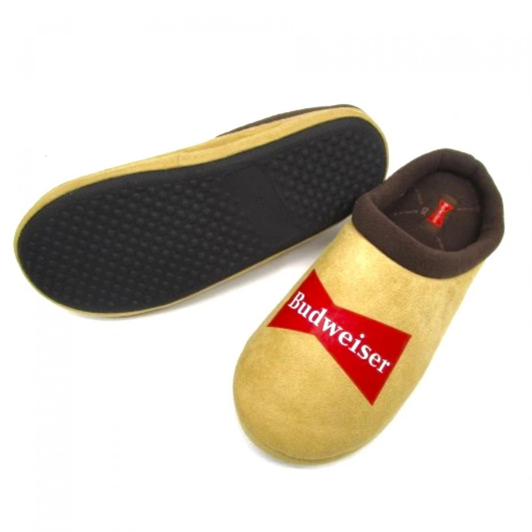 Budweiser Brand Logo Brown Comfy Slippers with Outdoor Soles