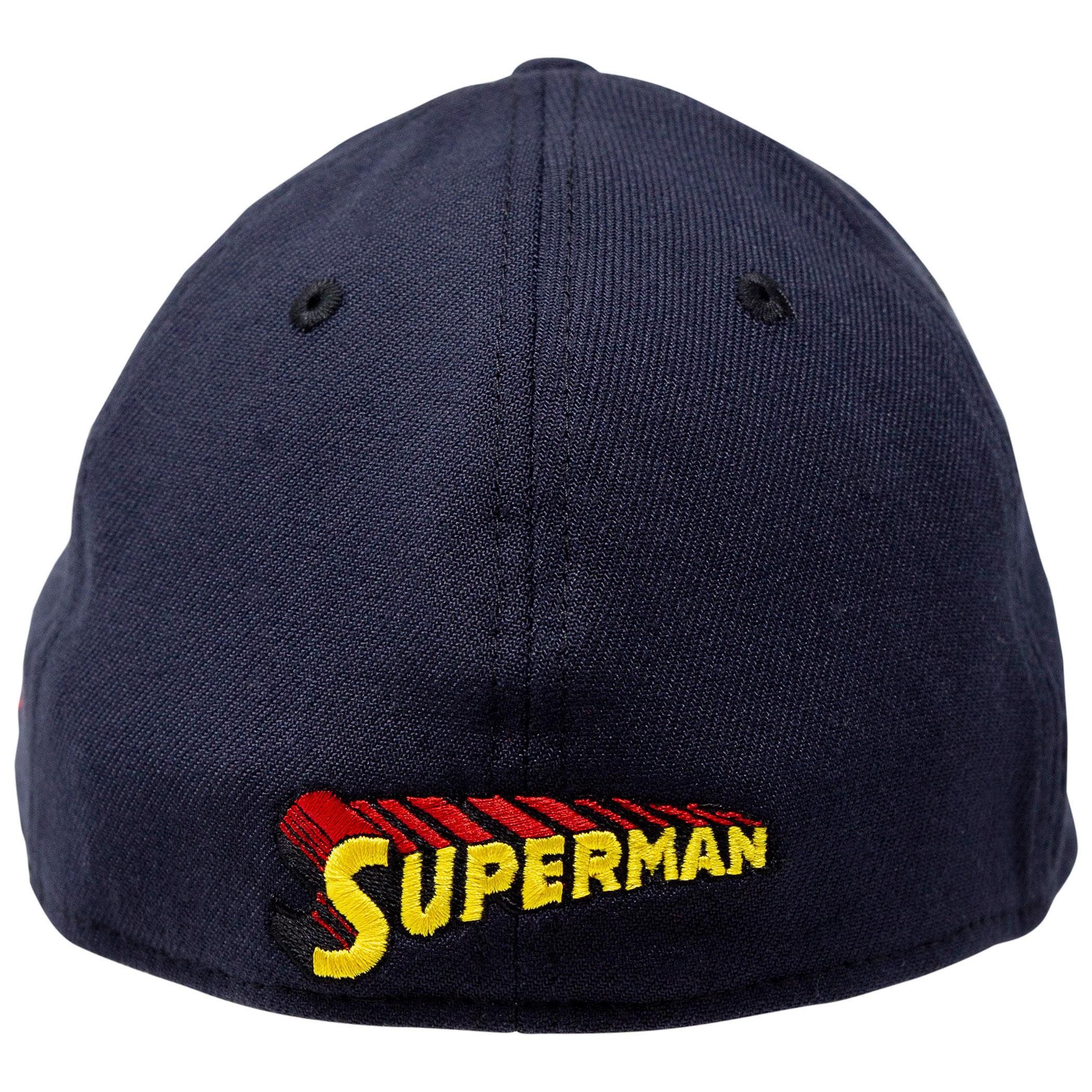 Superman Classic Symbol on Navy New Era 39Thirty Flex Fit Hat