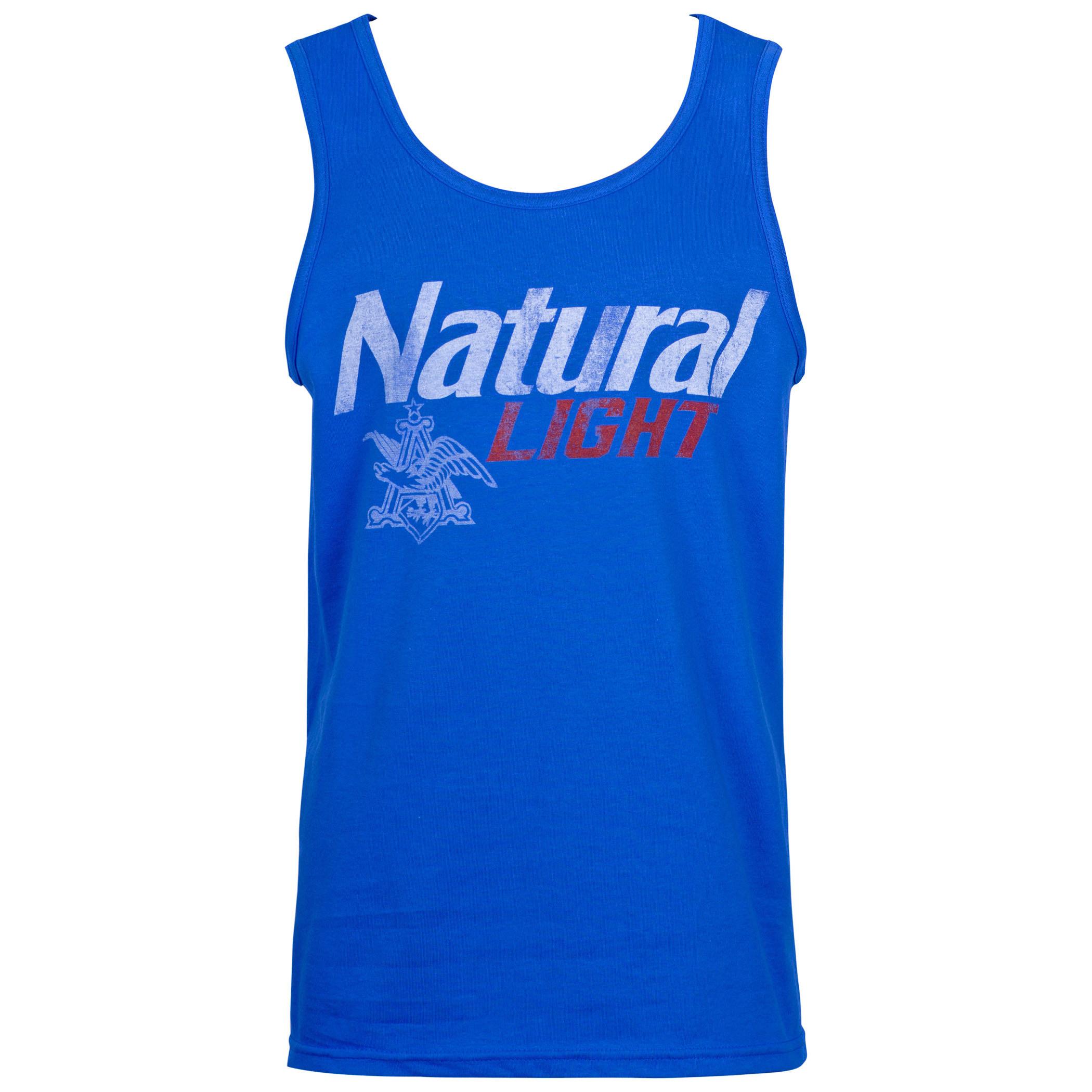 Natural Light Distressed Logo Blue Tank Top