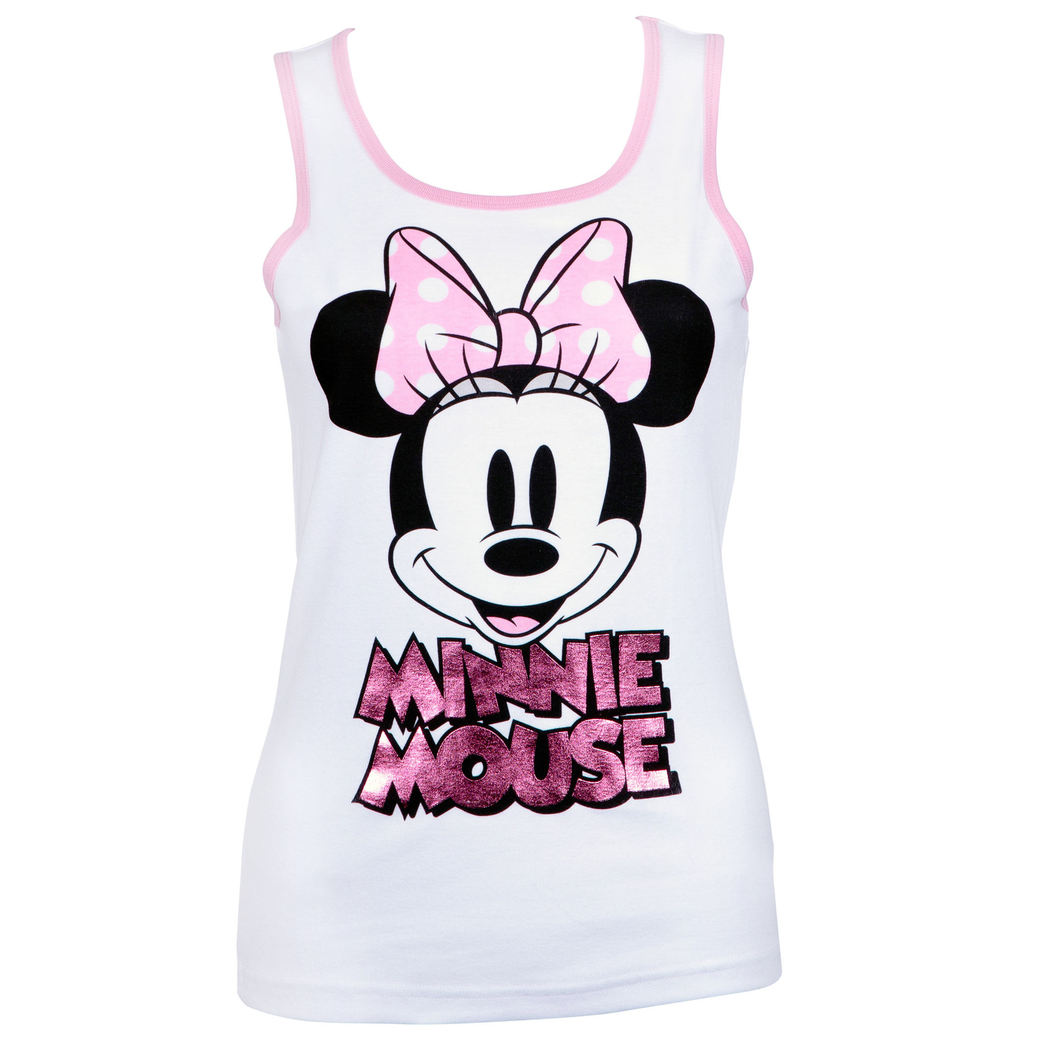 Minnie Mouse Ladies Pink Foil Logo White Tank Top