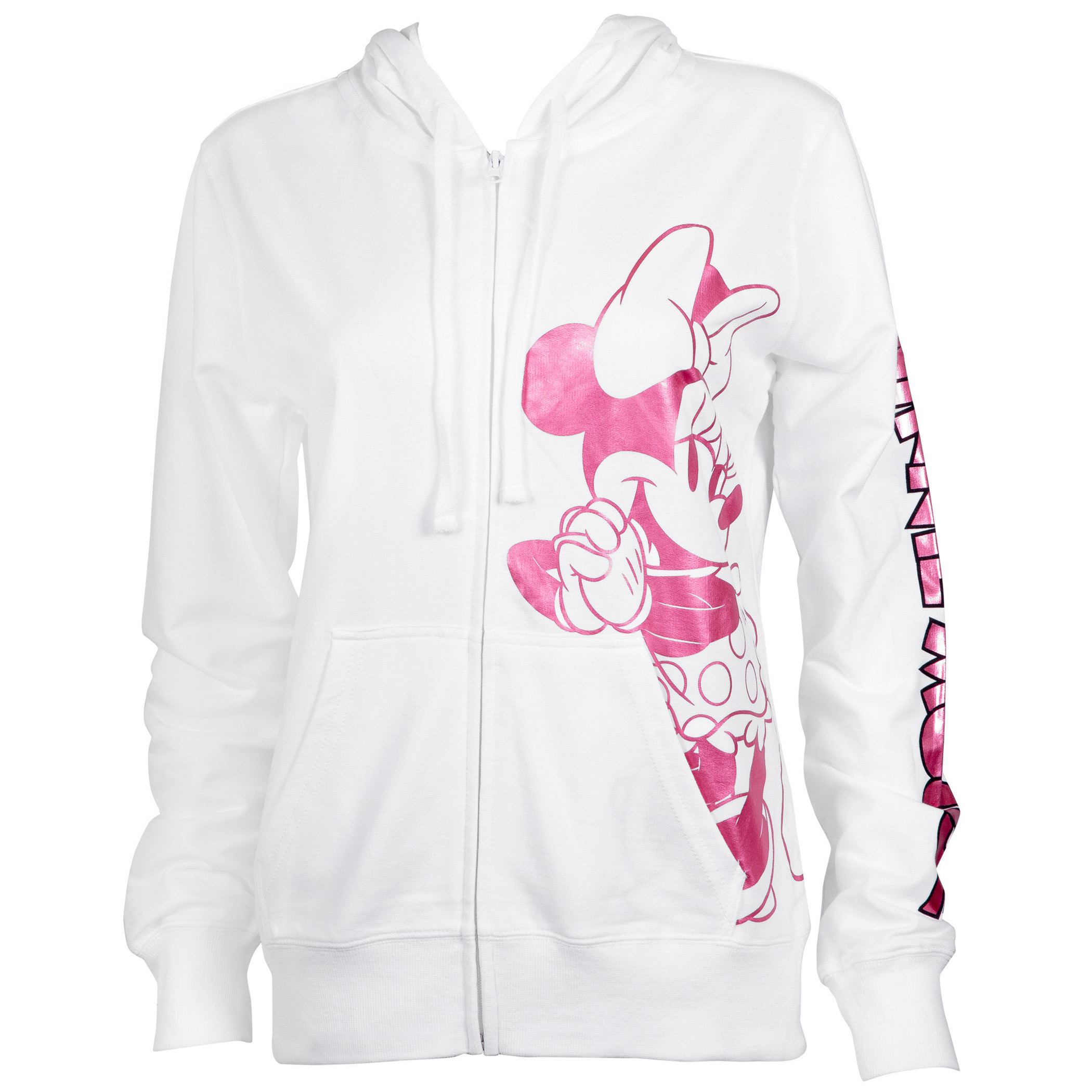 Minnie Mouse Ladies Pink Foil Logo White Hoodie