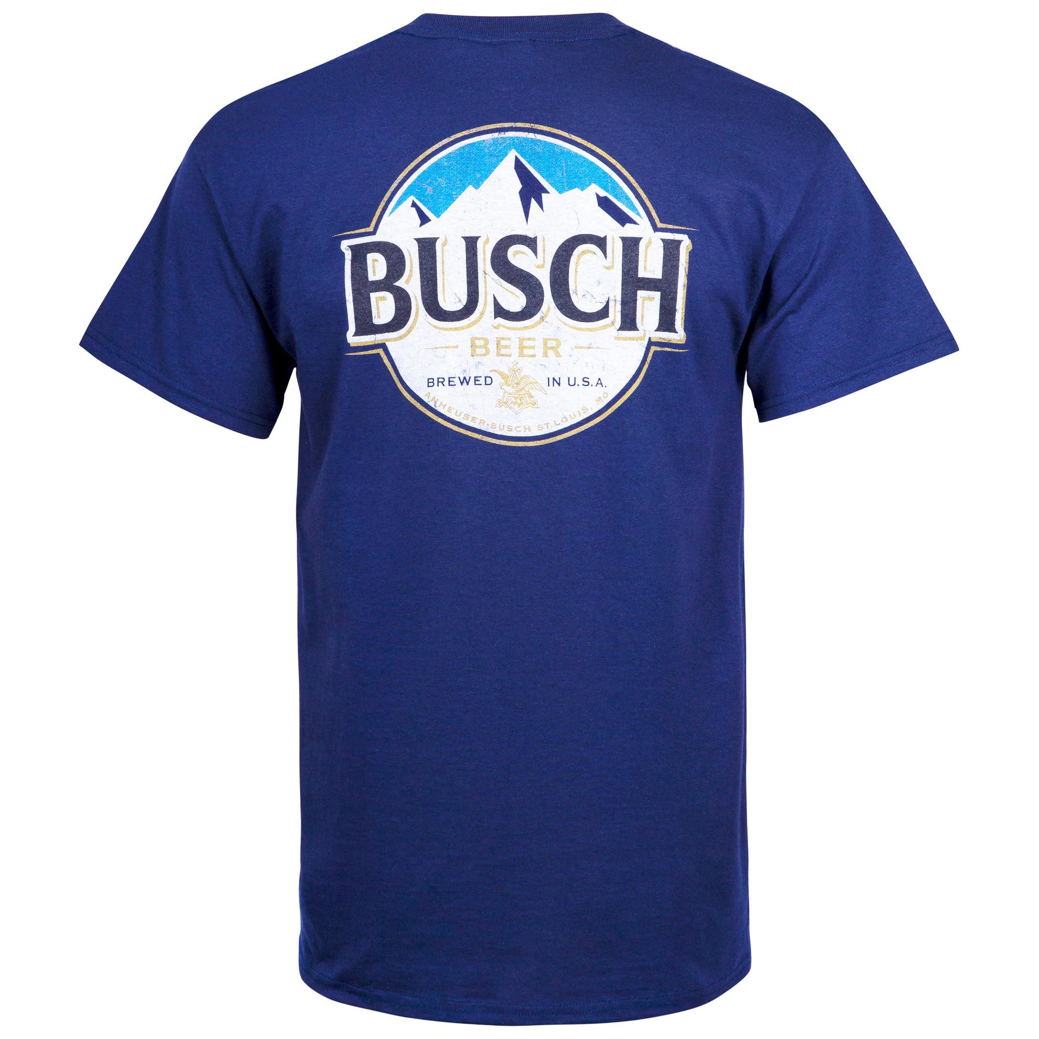 Busch Front And Back Print Blue Pocket Tee Shirt