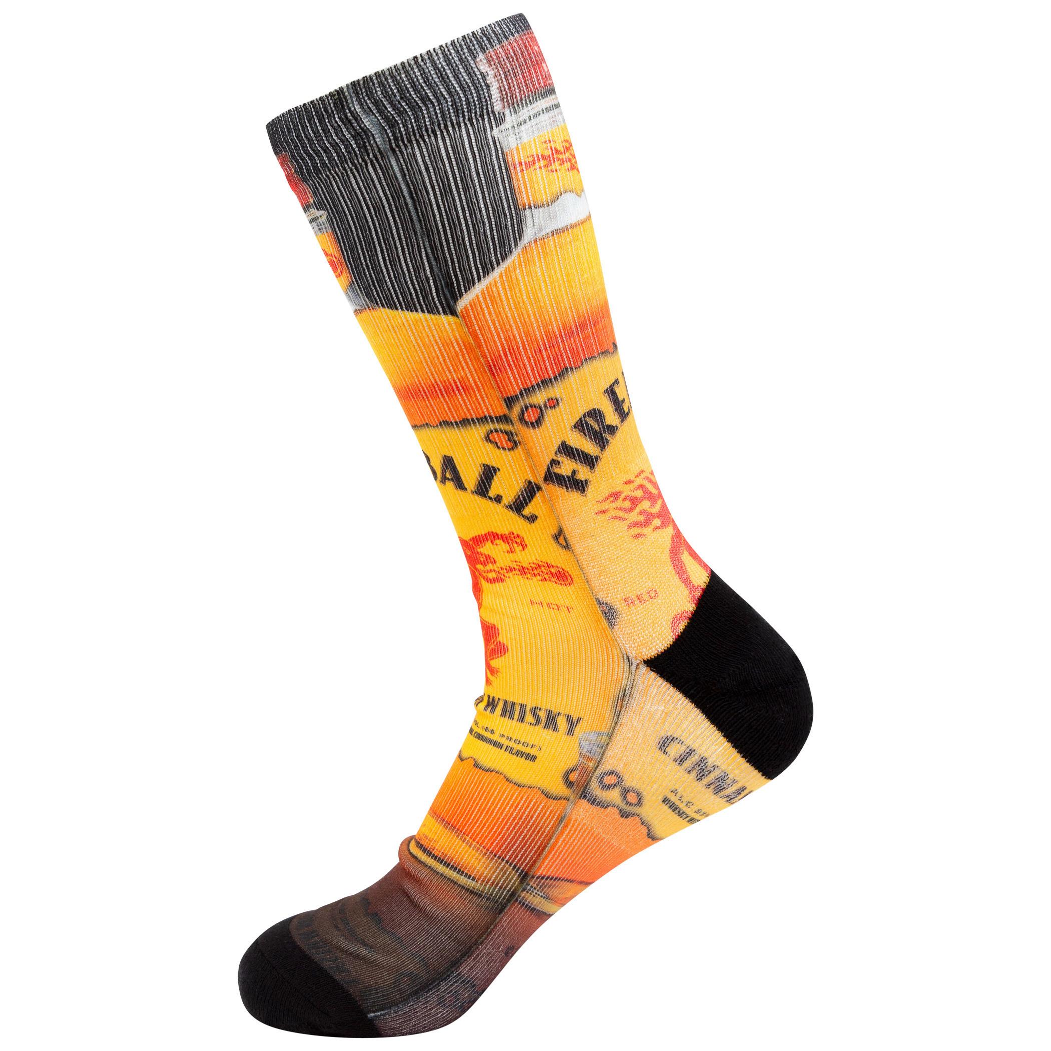 Fireball Whiskey Bottle Print Socks