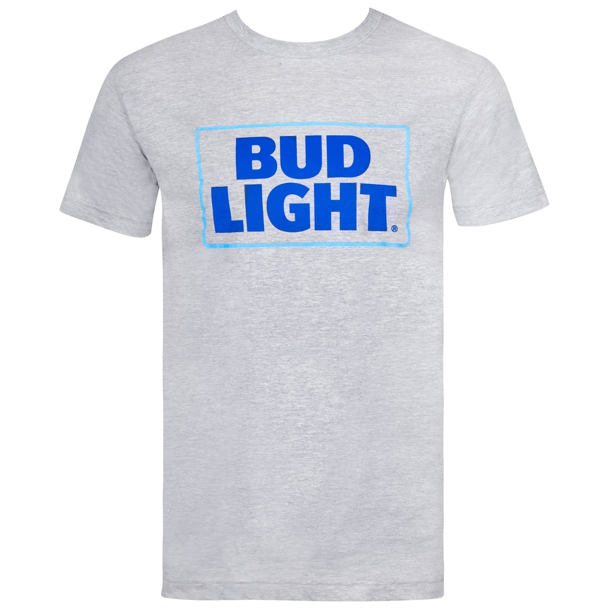 Bud Light Beer Classic Logo Men's Grey T-Shirt