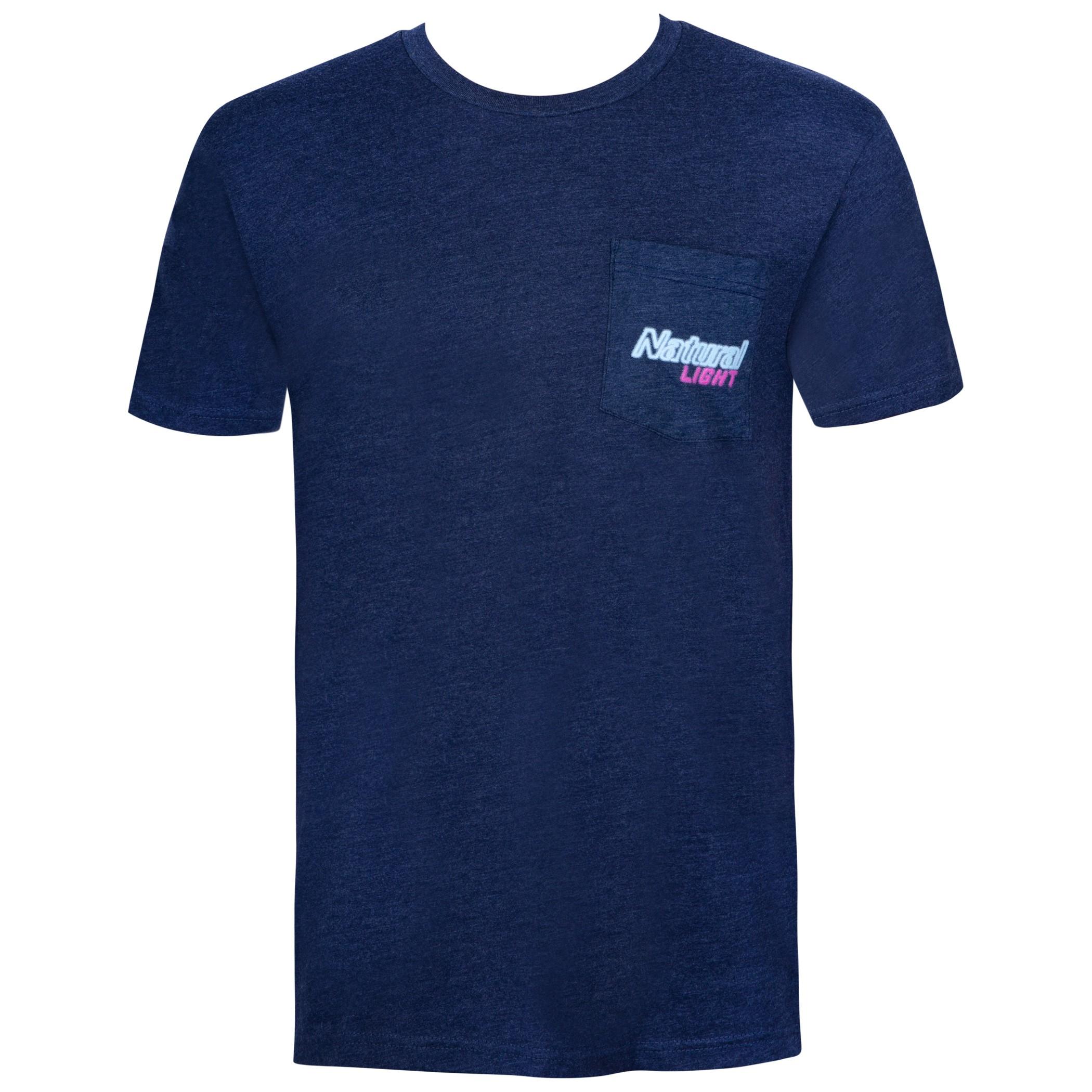 Natural Light Naturdays Neon Sign Navy Blue Tee Shirt