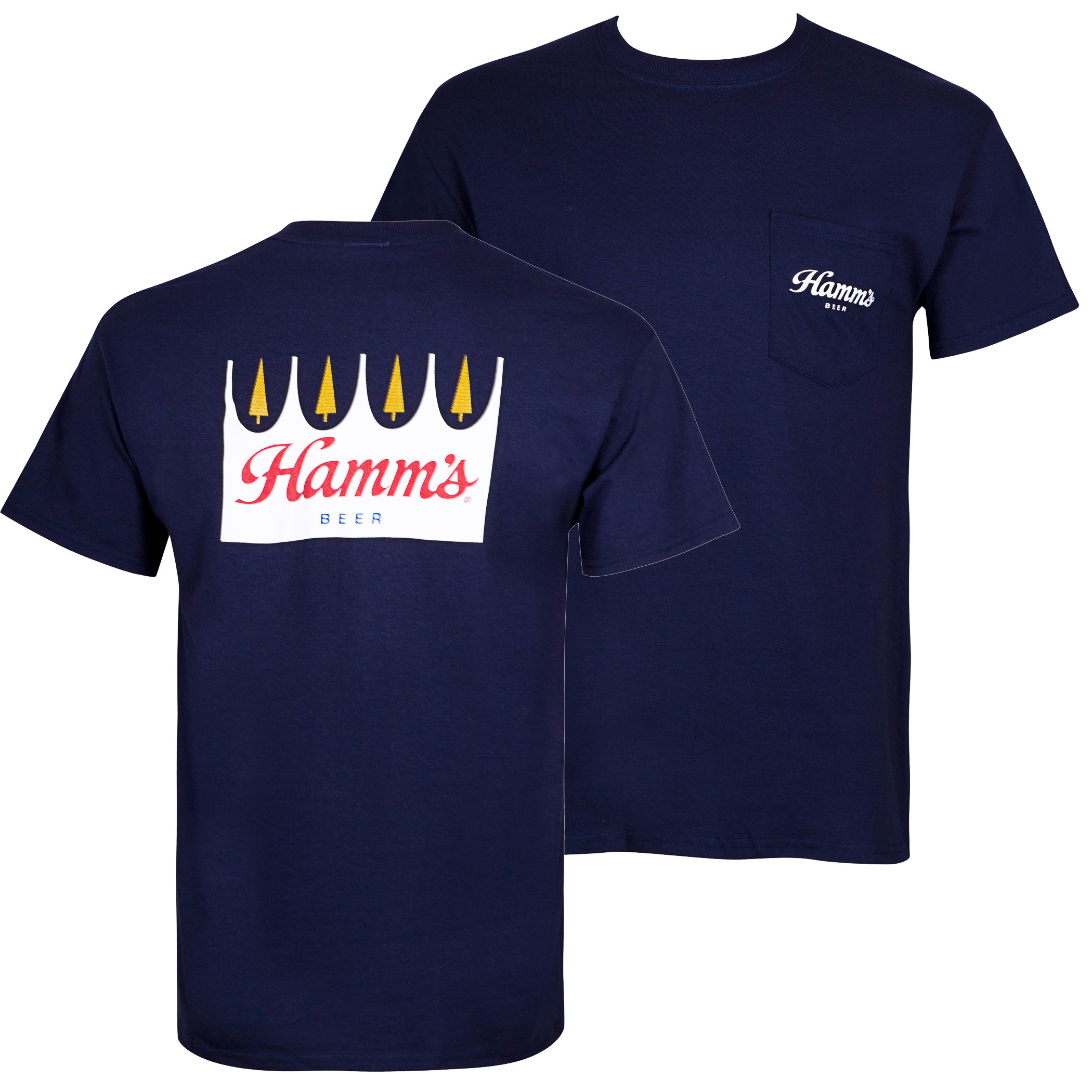 Hamm's Beer Logo Front And Back Print Men's Pocket T-Shirt