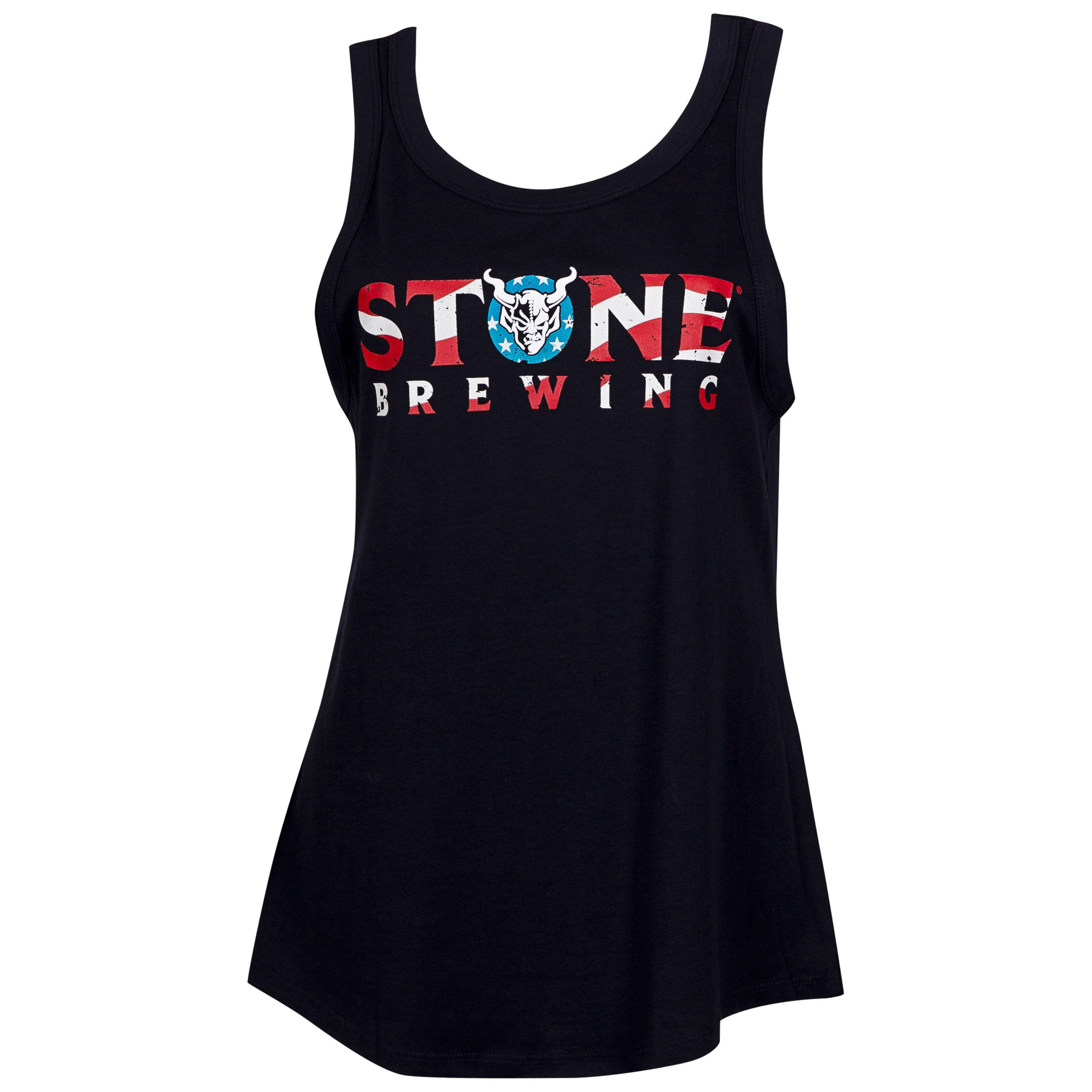 Stone Brewing Red White And Blue Women's Black Tank Top