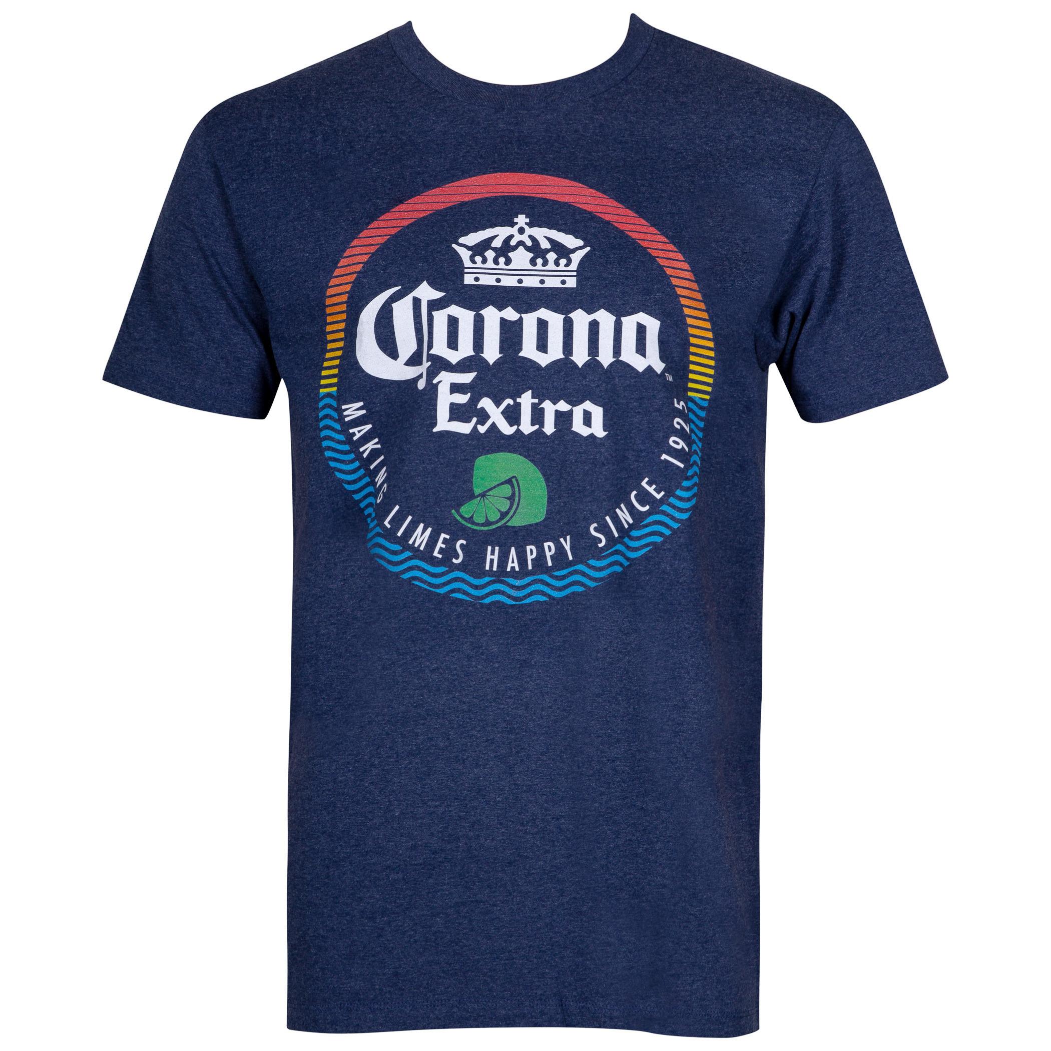 Corona Extra Beer Making Limes Happy Men's Blue T-Shirt