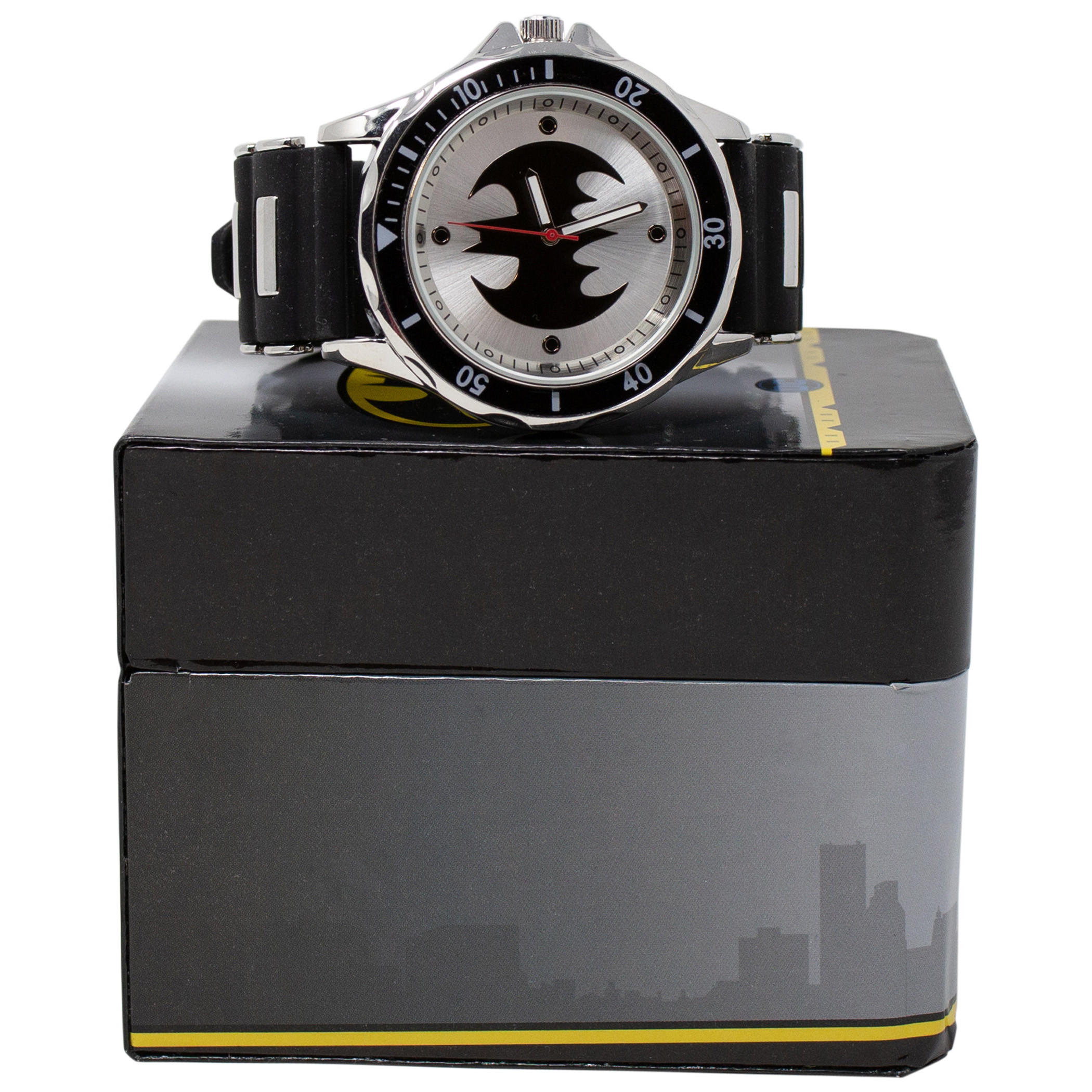 Batman Black and White Symbol Watch with Rubber Wristband
