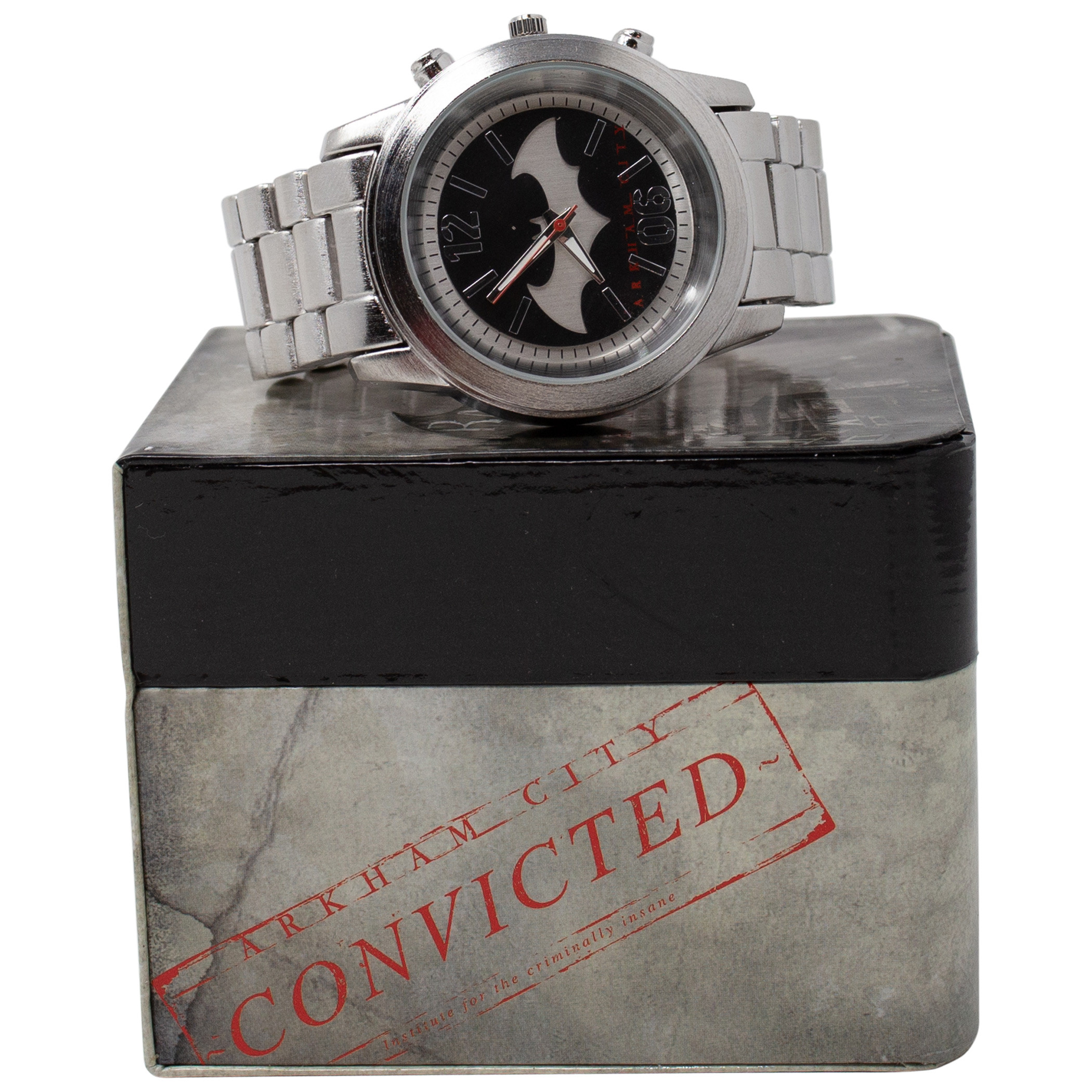 Batman Arkham Symbol Silver Metal Watch