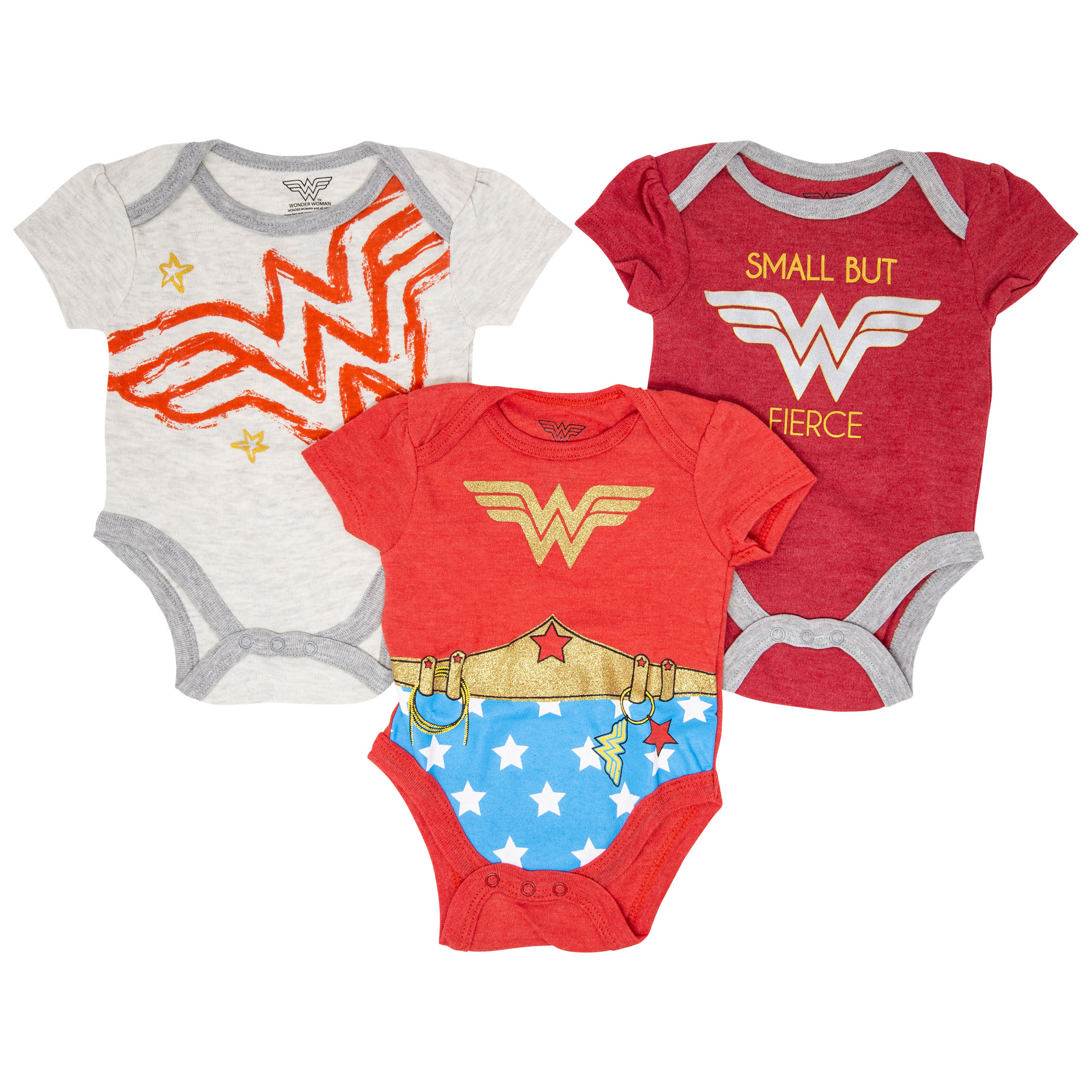 Wonder Woman 3-Pack Infant Bodysuit Set