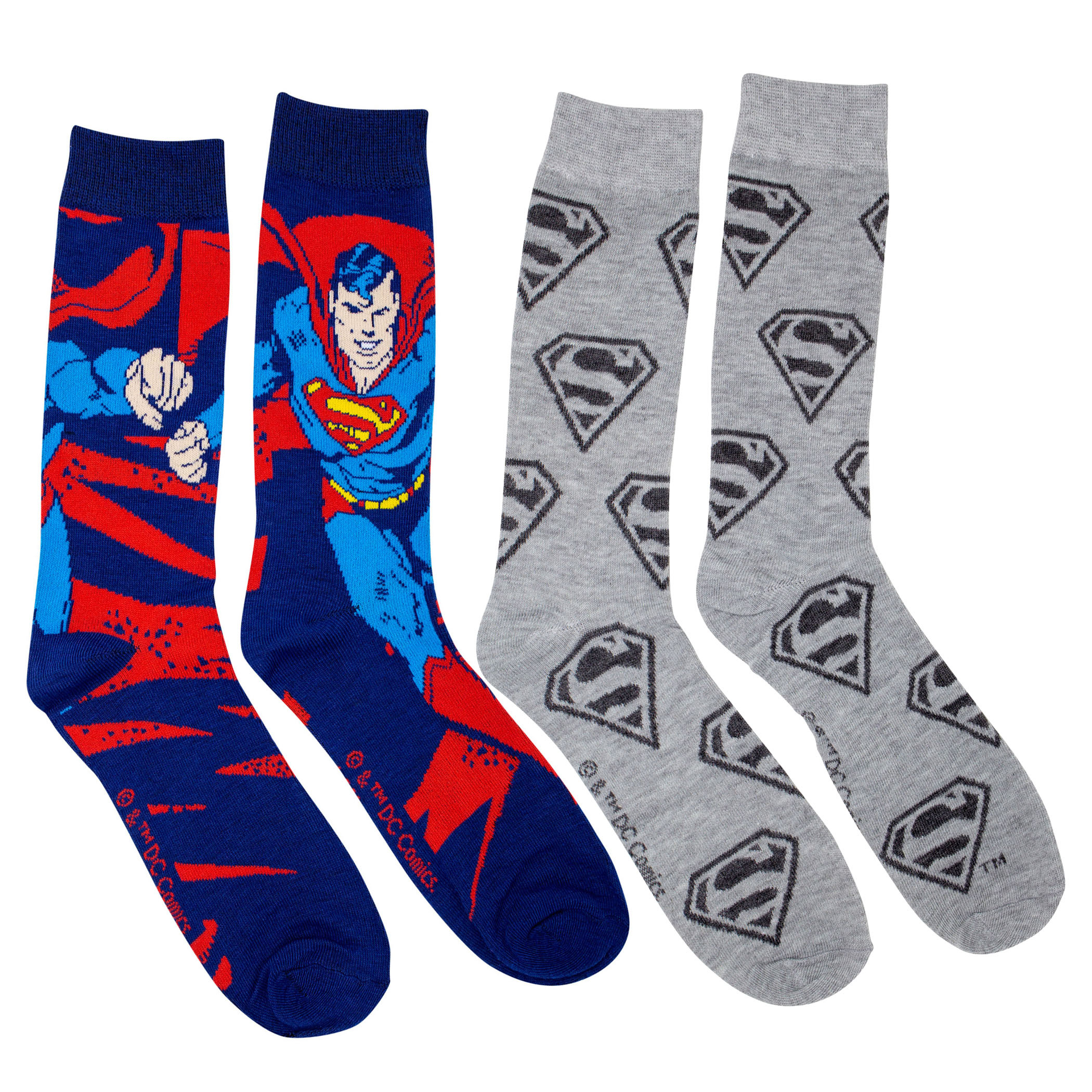 Superman Action Pose and Symbols 2-Pack Crew Socks