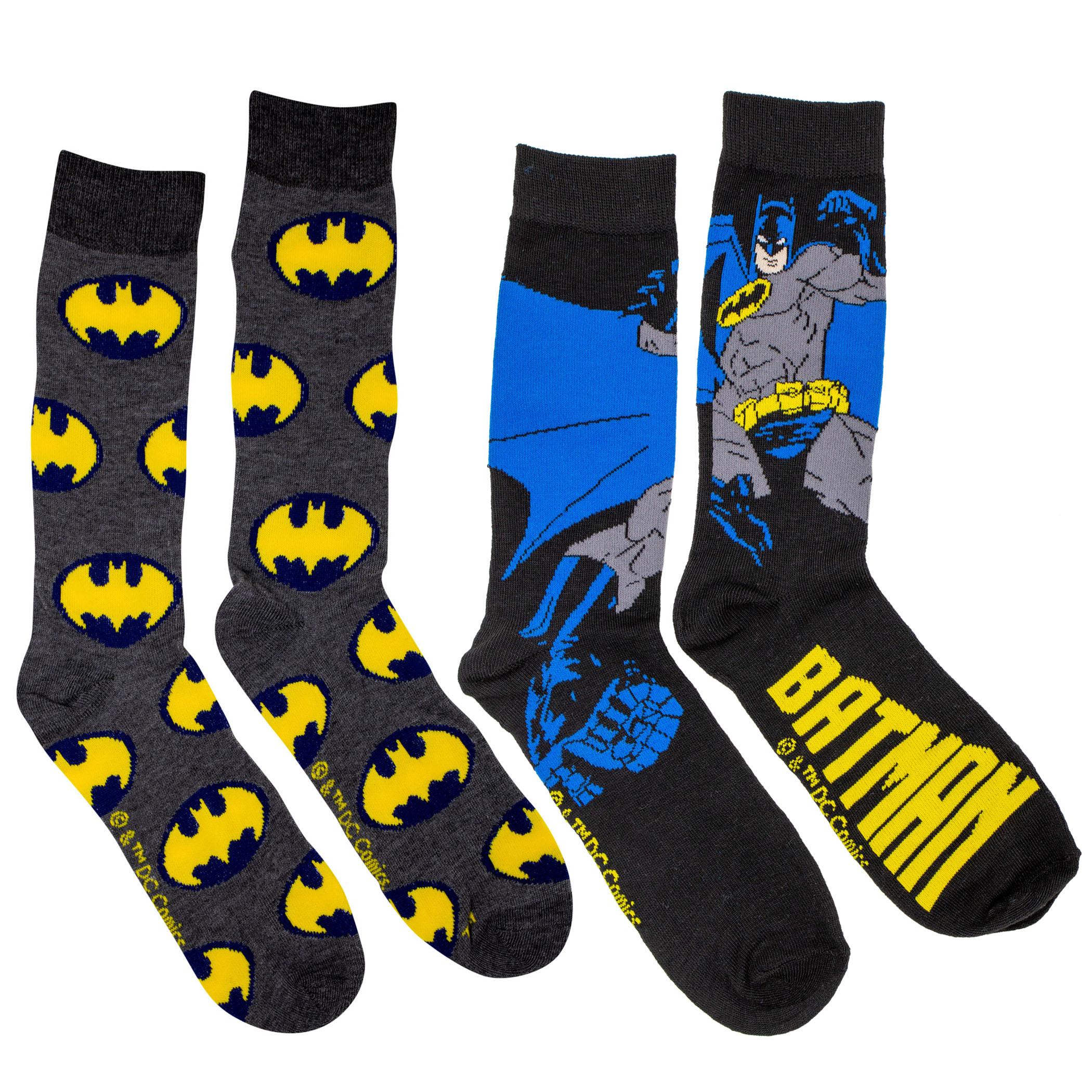 Batman Action Pose and Symbols 2-Pack Crew Socks