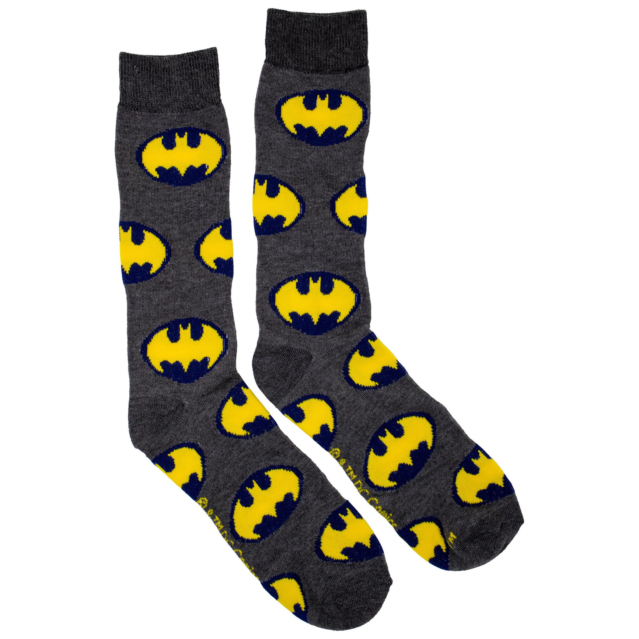 Batman Yellow and Blue Symbols Men's Crew Socks