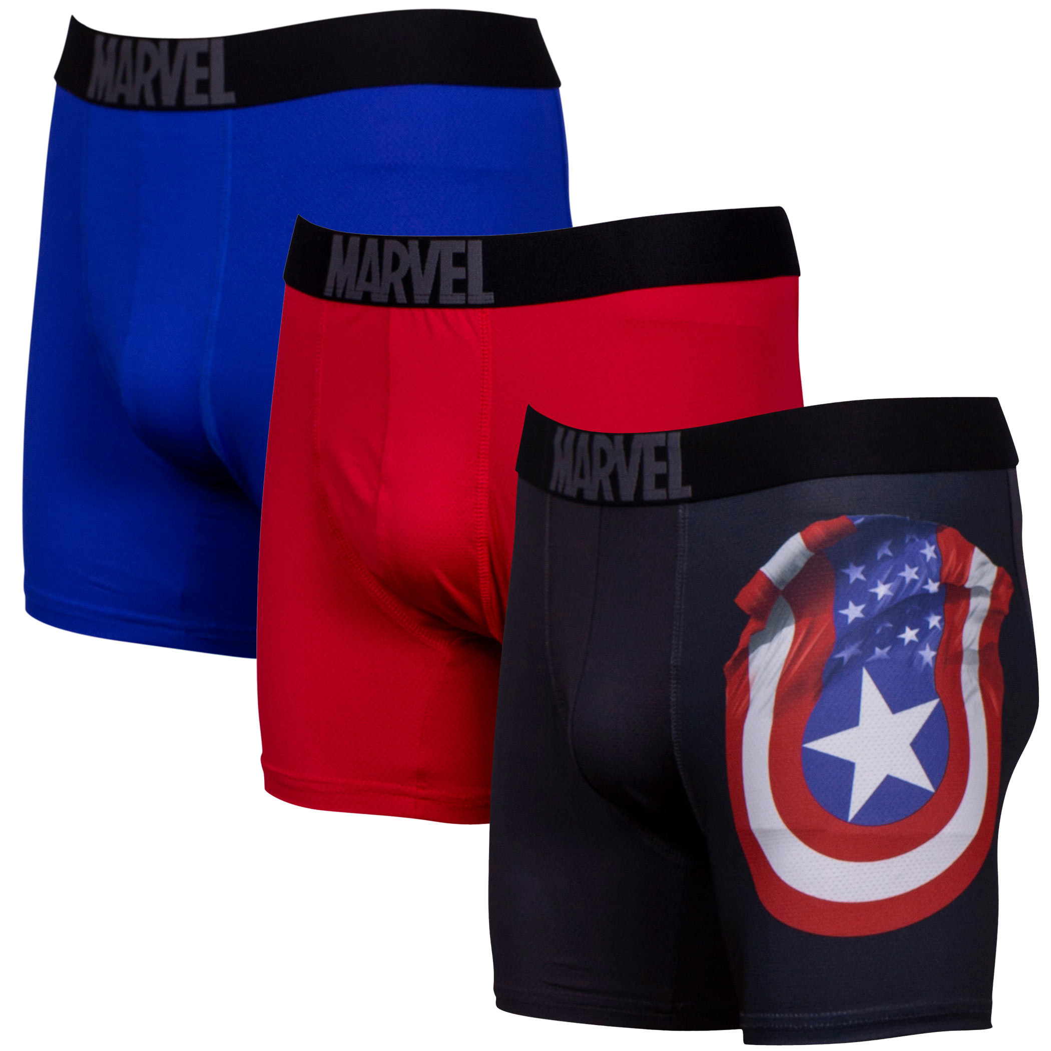 Captain America Performance Mesh Underwear Boxer Briefs 3-Pair Pack