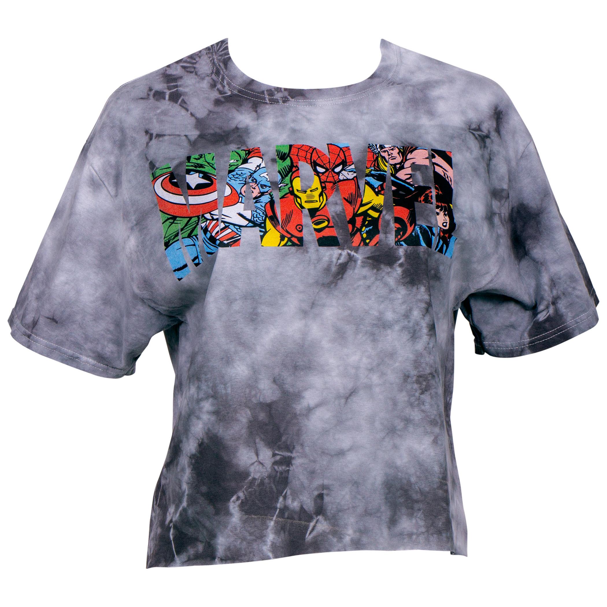 Marvel Heroes in Text Women's Crop Top Shirt
